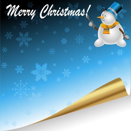 kerst markt: Illustratie van Kerst achtergrond met feestelijke sneeuwpop.