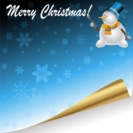 Illustration of Christmas background with festive snowman.  Vector