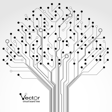 circuitos electronicos: Patr�n de placa de circuito impreso en forma de �rbol. Ilustraci�n.