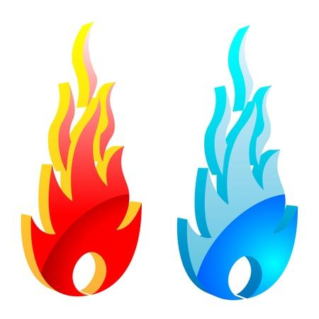 gas flame: Illustrazione della fiamma del fuoco e fiamma del gas. Vettoriali