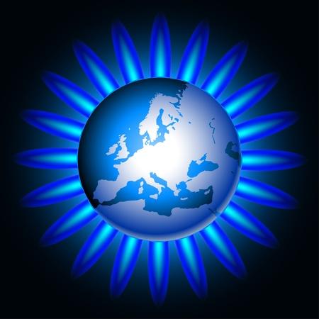 gas flame: Illustrazione della terra e una fiamma di gas naturale.  Vettoriali