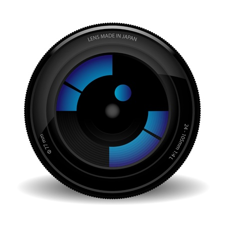 close icon: Illustration of camera lens isolated on a white background.