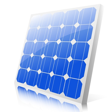 solar thermal: Illustration of a solar panel on a white background.