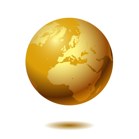 erde gelb: Globe auf wei�em Hintergrund.