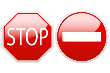 Kein Eintritt und Stop-Schild auf einem weißen Hintergrund. Illustration