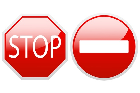 end of road: No entry and stop sign on a white background. Illustration