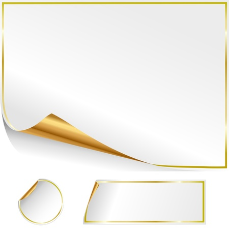 gold corner: Group of stickers for advertising on a white background.