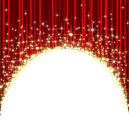 red curtain: Brilliant background with shooting stars.  Illustration