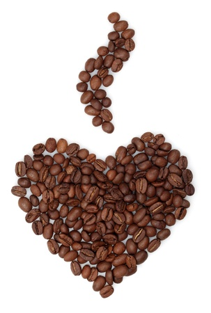 Coffee beans in shape of heart on white background.