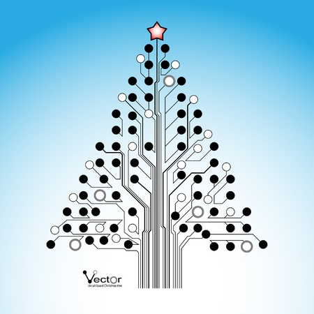 Circuit board Christmas tree. Illustration.  Vector