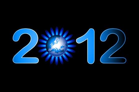 gas flame: Illustrazione della data del 2012 con una fiamma a gas in tutto il mondo.