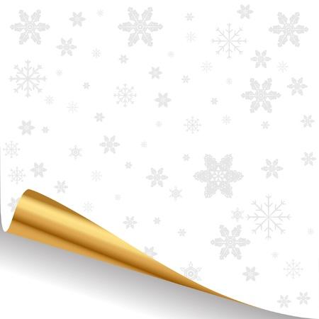 kerst markt: Illustratie van een wit vel papier met een gouden gebogen rand. Stock Illustratie