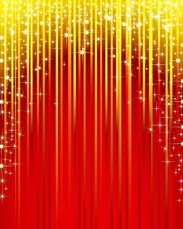 glimmer: Christmas illustration of a red background with shooting stars.  Illustration