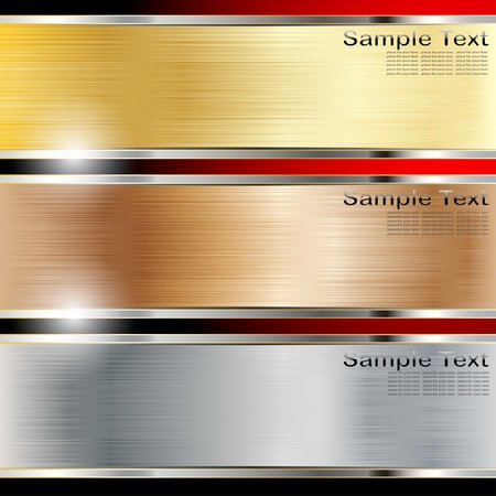 Illustration of a metal background, copper, steel and gold.  Vectores