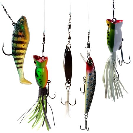 Fishing baits isolated on white background. Set. photo