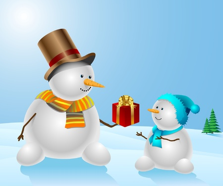 Snowmen with Christmas present on natural background Vector