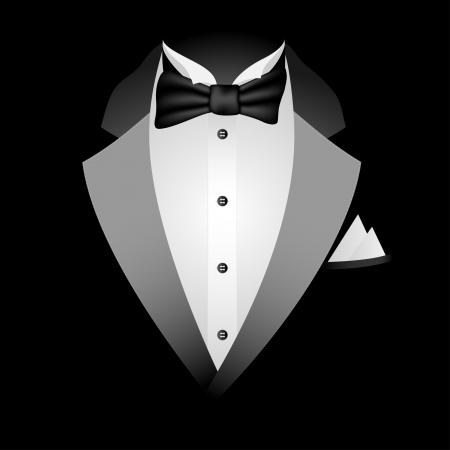 stropdas: Illustratie van de smoking met vlinderdas op een zwarte achtergrond.