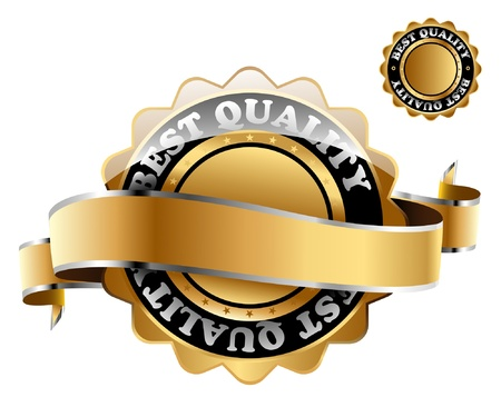 Illustration of the golden mark of best quality.  Vector