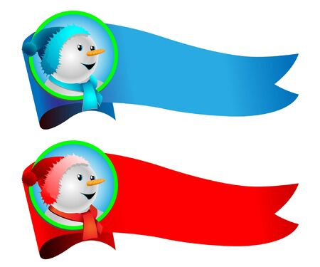 Illustration of fun snowman on the background of the banner.  Vector