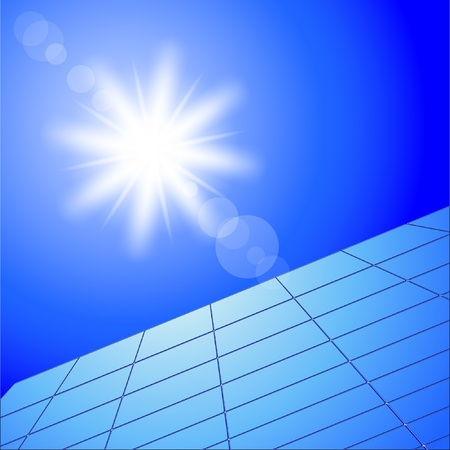Illustration of solar panels and sunny sky.  Vector