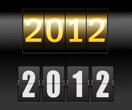 new year counter: Time counter with date of new year. Vector.