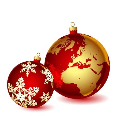 red earth: Christmas illustration on white background. Vector. Illustration