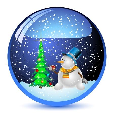 Illustration Schneekugel mit einem Weihnachtsbaum und Schneemann im. Vector.
