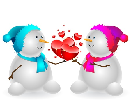 Happy snowman with a heart, isolated on a white background. Vector . Illustration