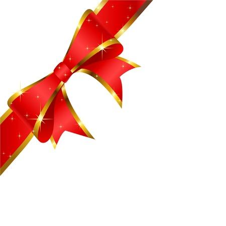 fiocco oro: Fiocco rosso su sfondo bianco. Vector.