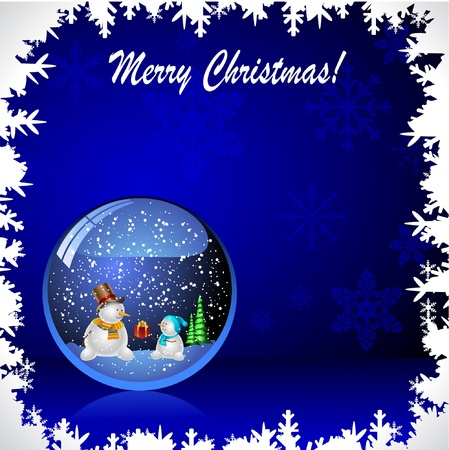 Illustration snow globe with a christmas tree and snowman within. Vector. Vector