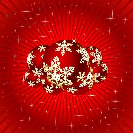 빨간색 배경에 크리스마스 그림입니다. 벡터.