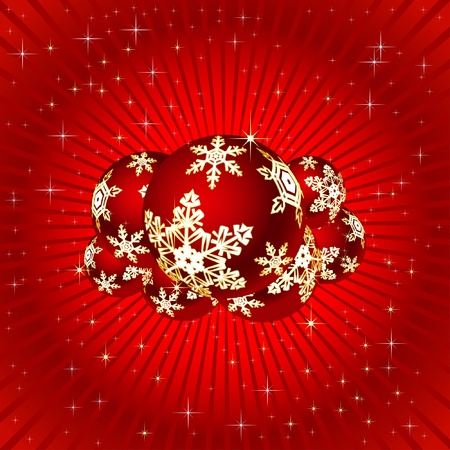 Christmas illustration on a red background. Vector.