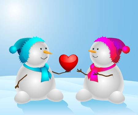 Happy snowman with a heart on the natural background. Vector illustration.