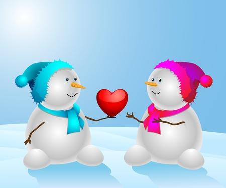 corazones azules: Mu�eco de nieve feliz con un coraz�n en el fondo natural. Ilustraci�n vectorial.