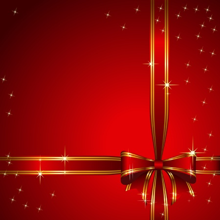 Red bow on red background. Vector.