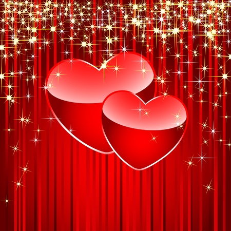 Two hearts on a red background. Vector illustration. Vector