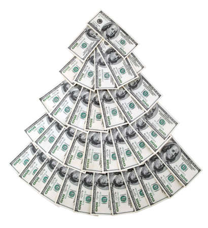 christmas savings: Image of U.S. dollars in the form of trees.