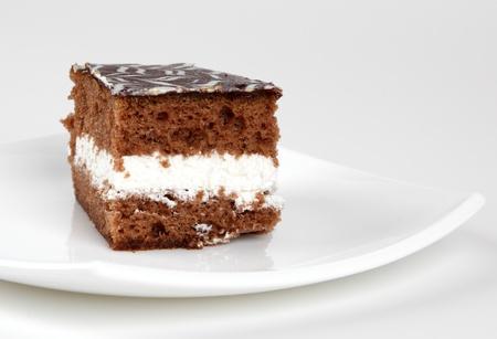 Cake on plate on white background. photo