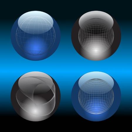 Glass balls on a dark background. Vector. Vector