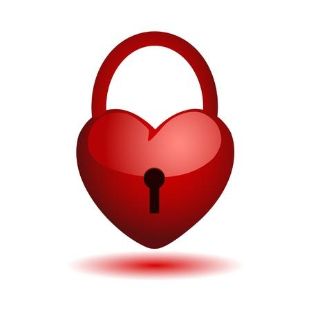 protegido: coraz�n en una cerradura. Vector.