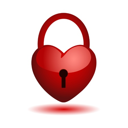 door lock love: heart on a lock. Vector.  Illustration