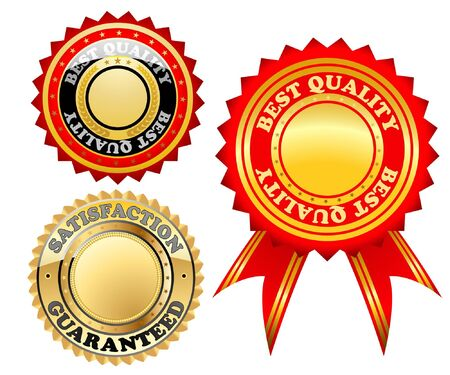Illustration of a set of gold marks the best quality. Vector. Vector