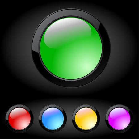 Illustration of the five colored buttons. Vector.