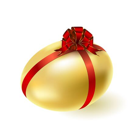 Gold egg with a red bow. Vector.  Vector