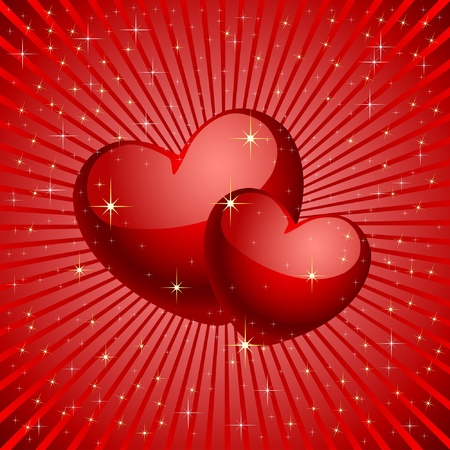 golden heart: Two hearts on a red background. Vector.