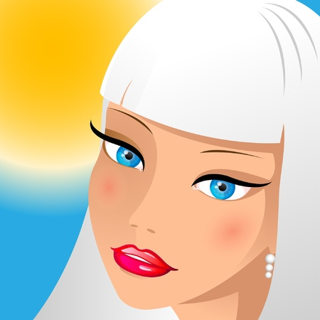 lips smile: Face of blonde on a background sun sky. Illustration. Vector.