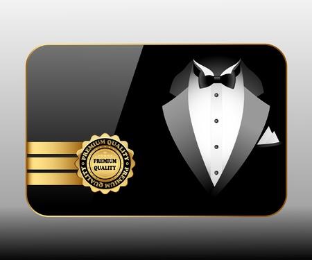 tuxedo man: Illustrazione di qualit� Premium Business carte. Vector.