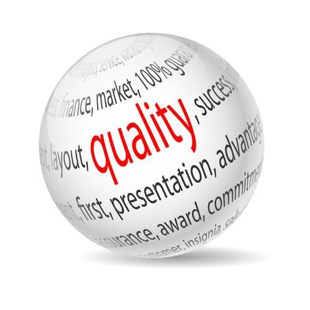 Illustration Ball mit Aufschrift Qualität auf weißem Hintergrund. Vector.