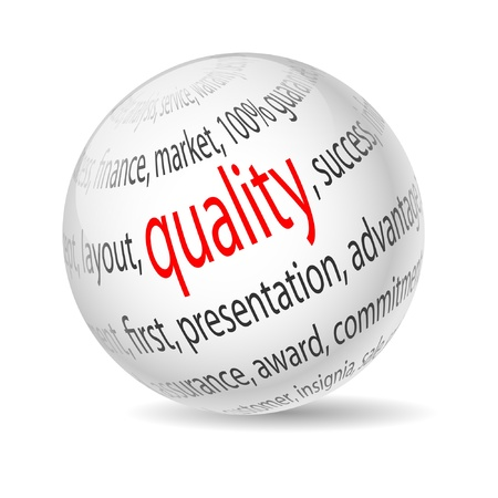 quality assurance: Illustration  ball with inscription quality on white background. Vector.