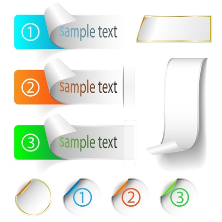 origami banner: Illustration labels and stickers on white background. Vector set.